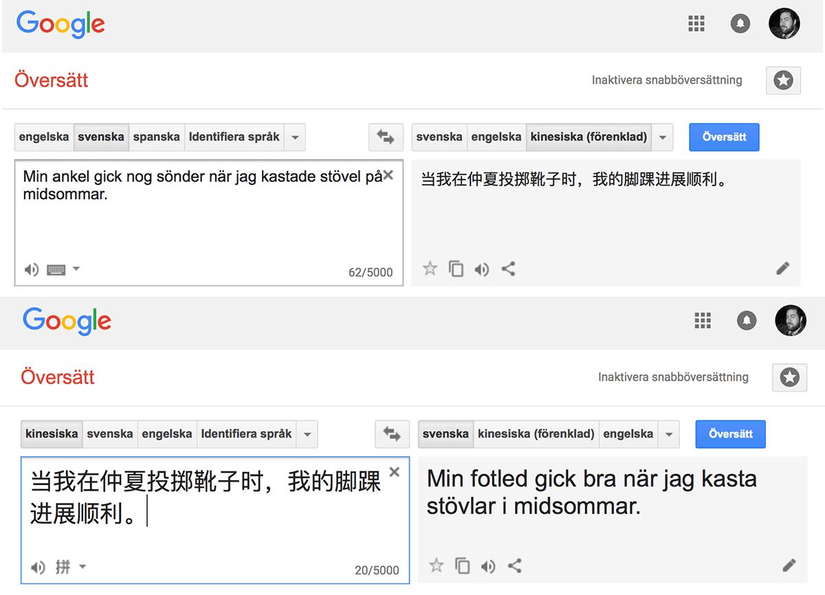 Google Translate mellan svenska och kinesiska