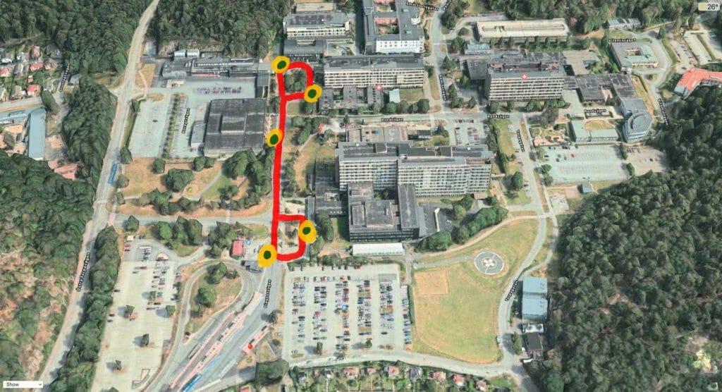 Exempel på rutt på Östra sjukhuset