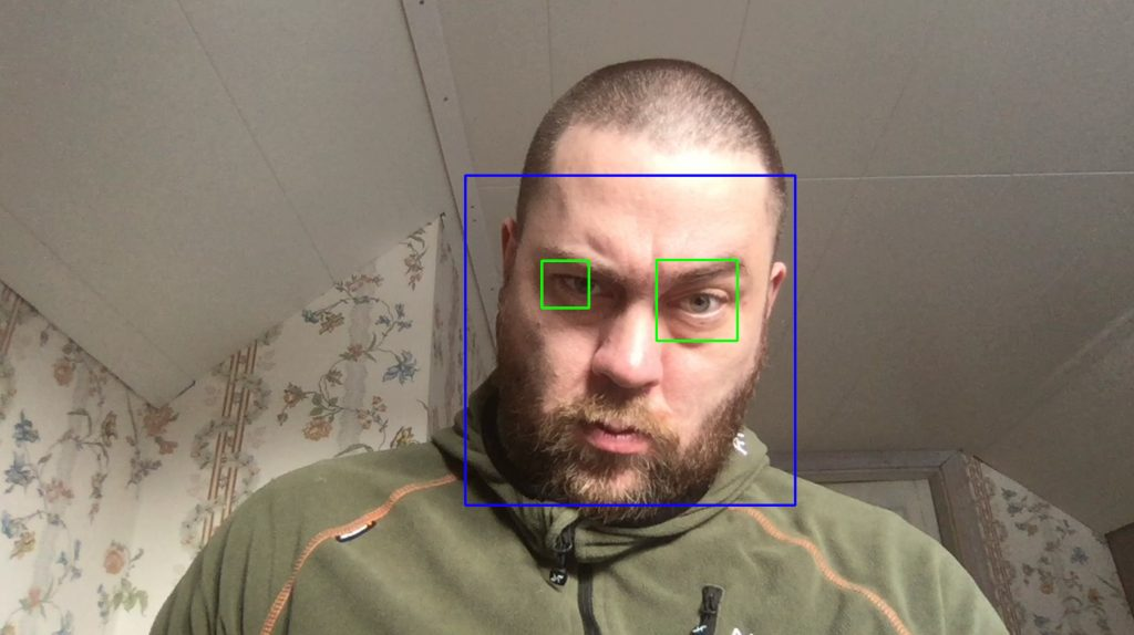 Fig. 13: Trained ML model for detecting where the face, eyes and mouth are in an image/video stream. It apparently does not support beards, a red rectangle should mark the mouth.