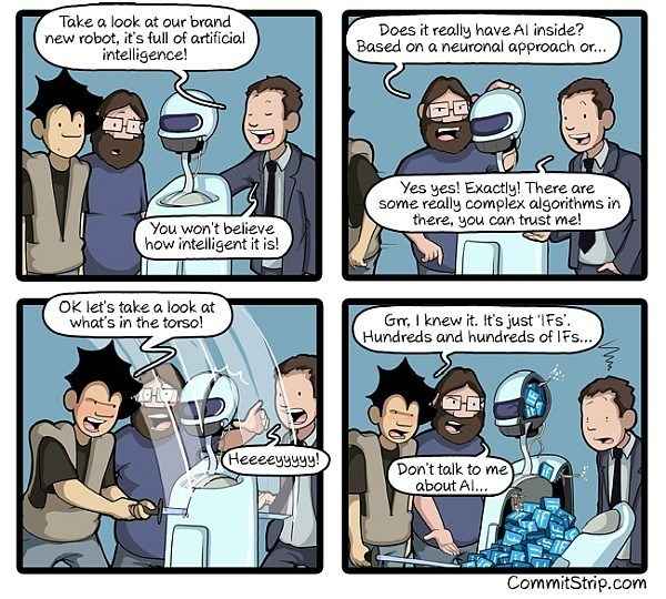 """Fig. 3: Is the robot intelligent or has it """"just"""" memorised masses of rules? (Source: commitstrip.com)"""