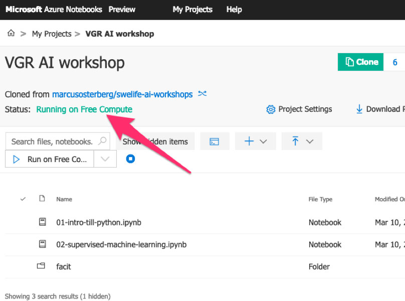 """Figur 8:Om det strular för dig och du vill felsöka är projektets status värt att kolla in. När det funkar ska det i grönt stå """"Running on Free Compute""""."""