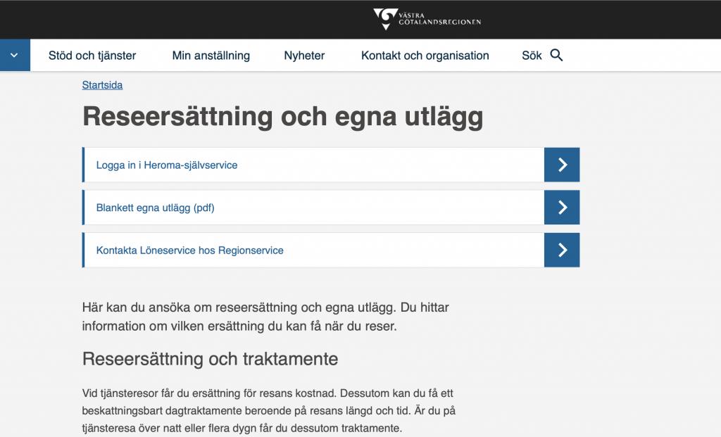 Skärmdump av sida reseersättning på VGR:s intranät.
