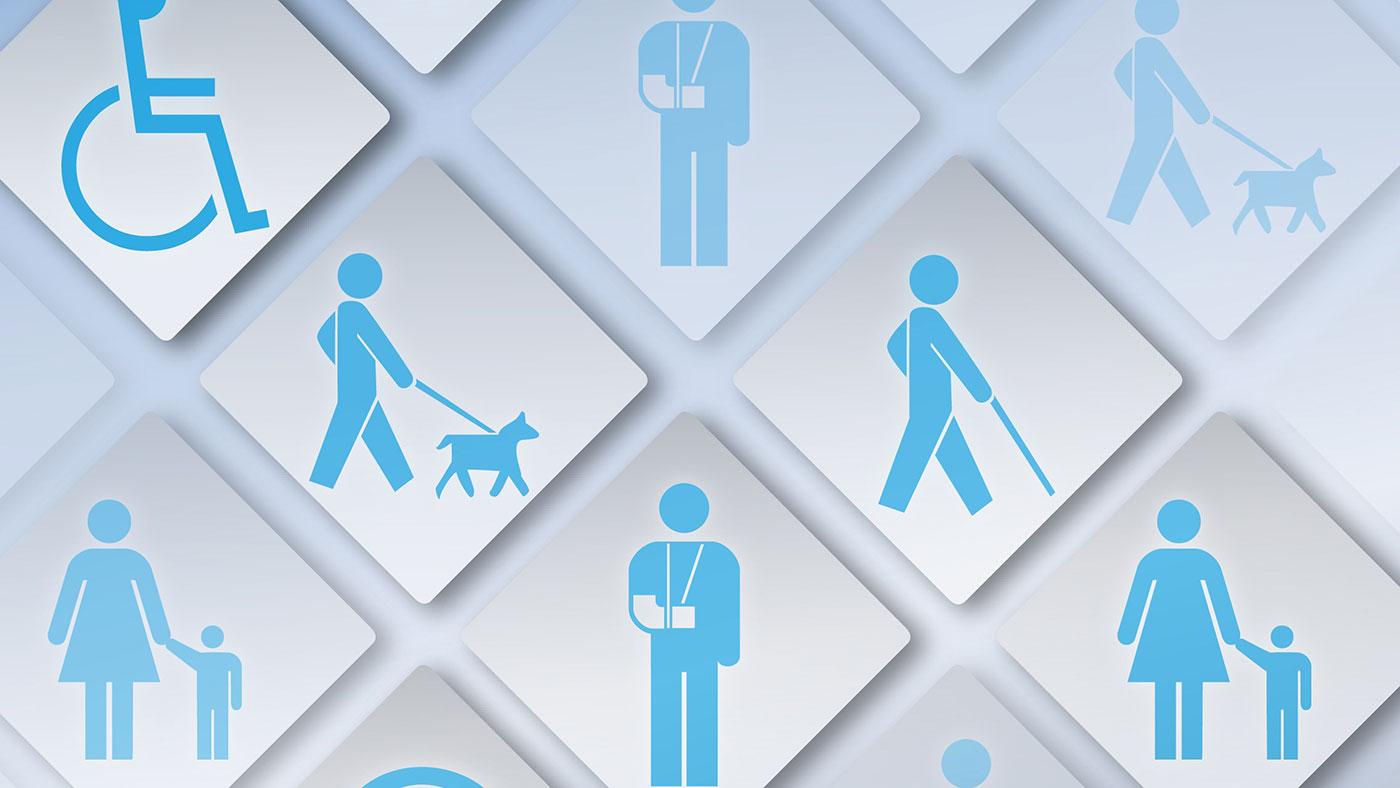 Illustration över ett flertal olika sorters funktionsnedsättningar
